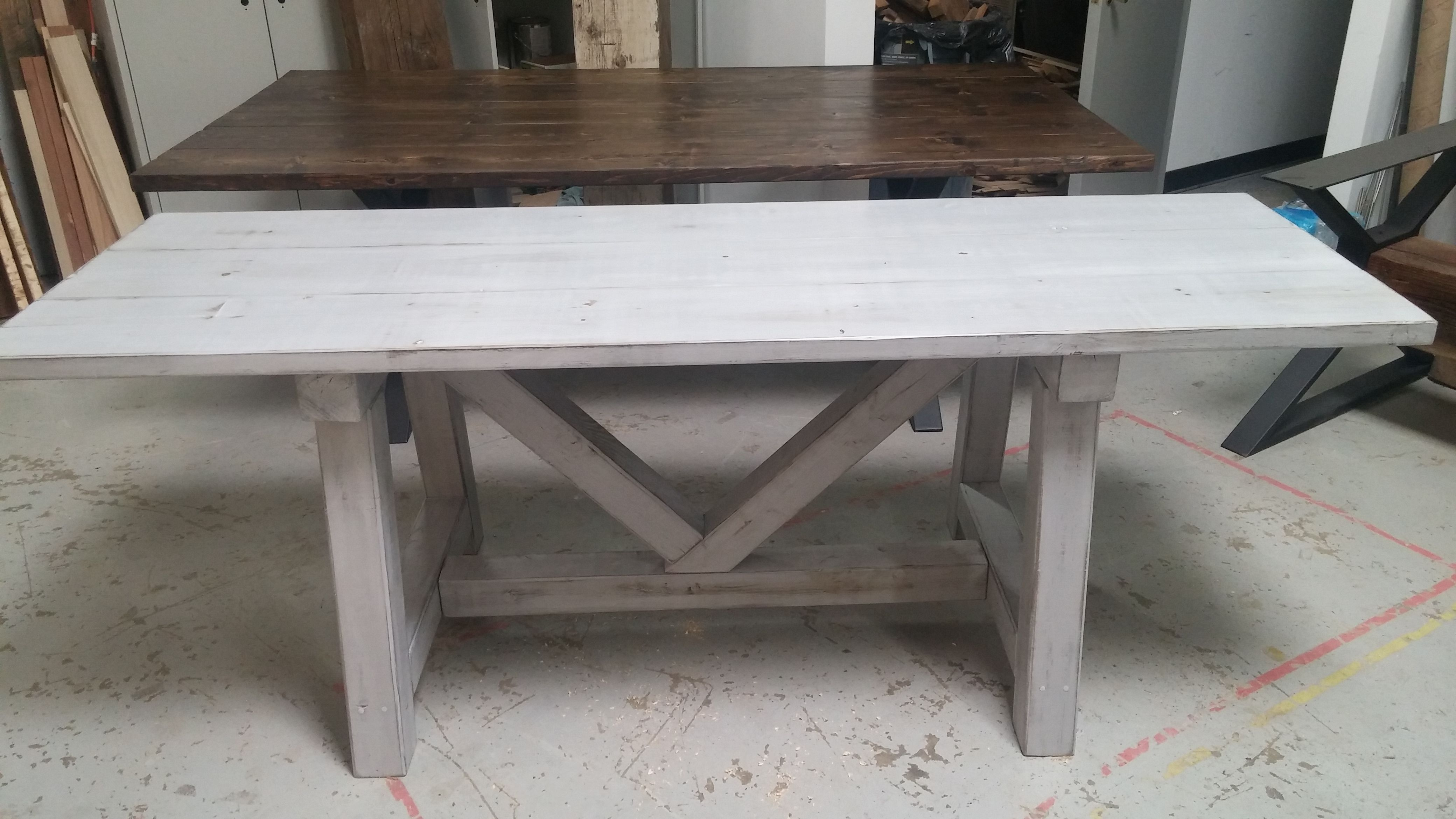 Custom Distressed Grey Trestle Farmhouse Table Reclaimed