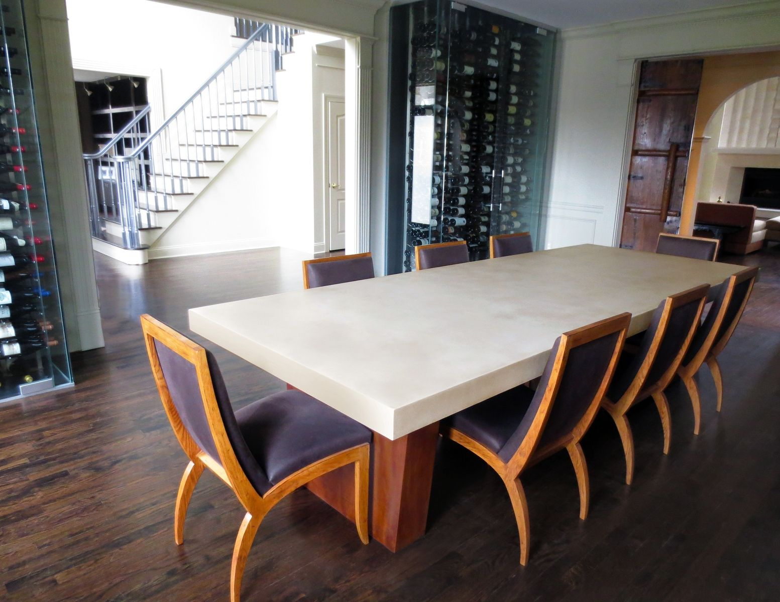 Custom Concrete Dining Room Table by Trueform Concrete