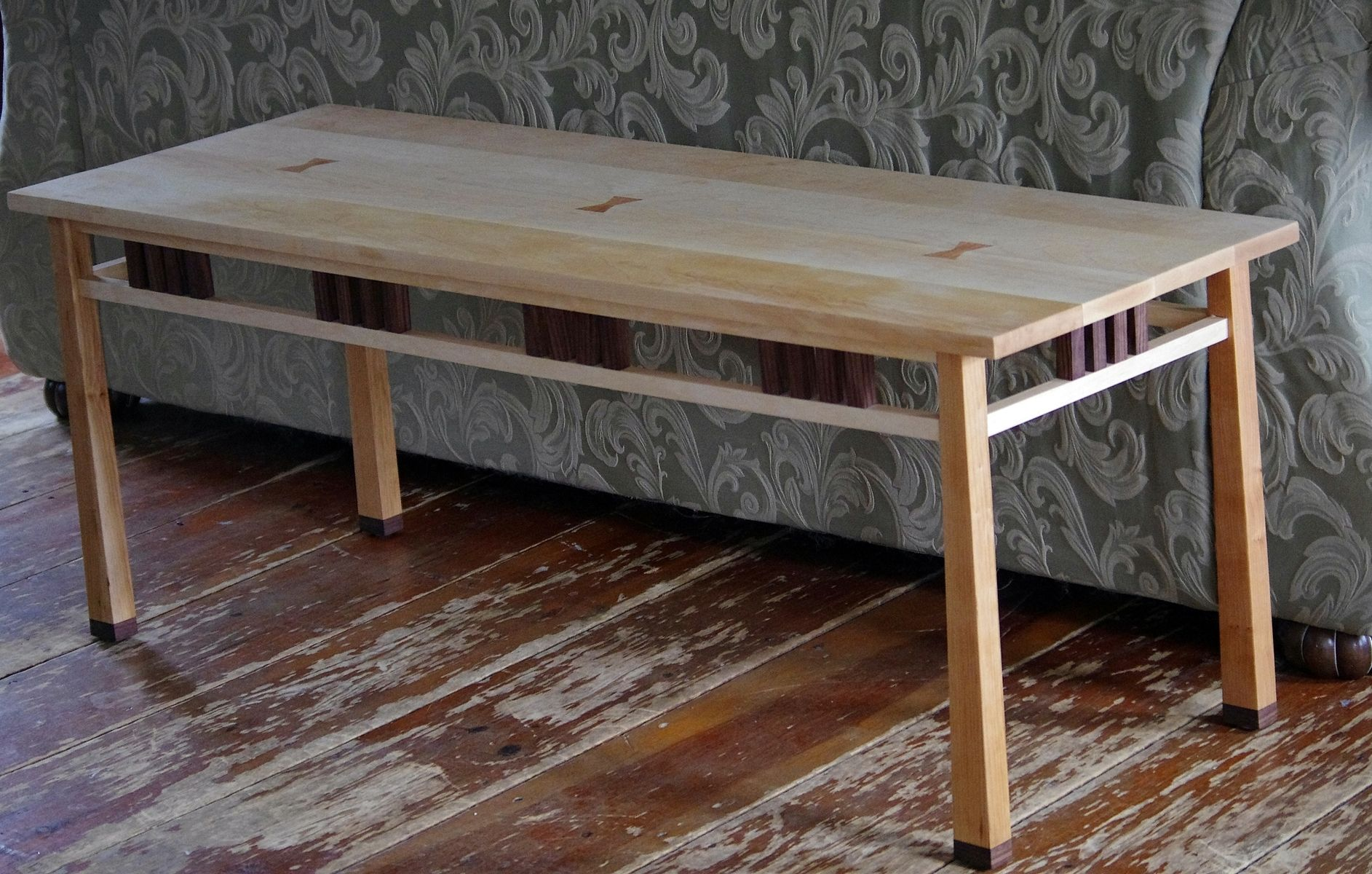 Custom Made Cherry Walnut And Maple Coffee Table By