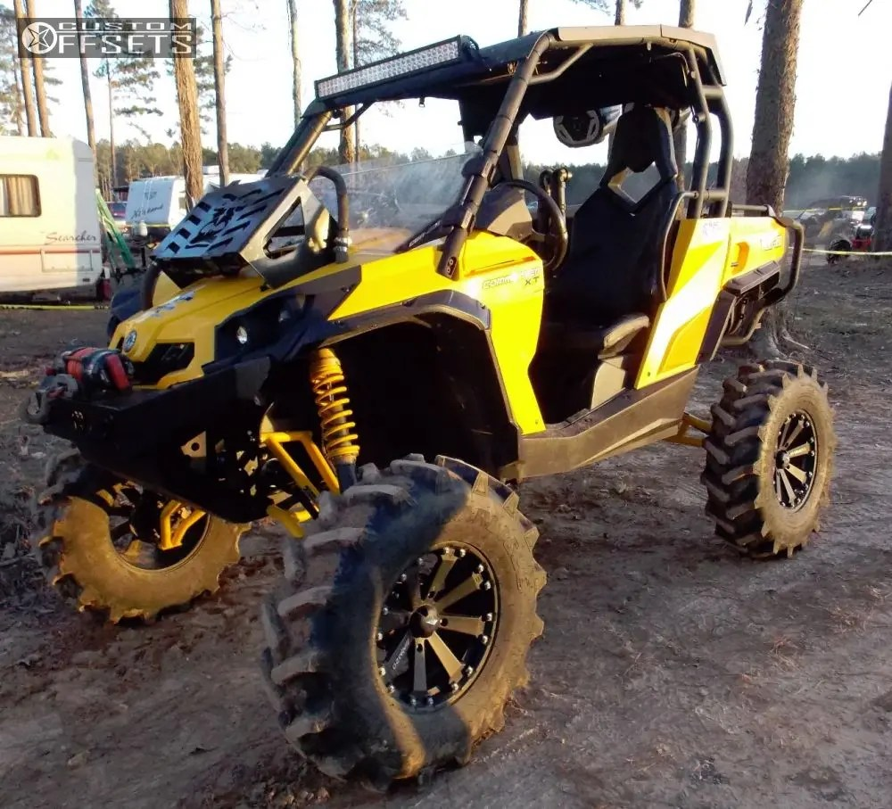 hight resolution of wheel offset 2011 can am commander 1000 outside flares lift 6 custom rims