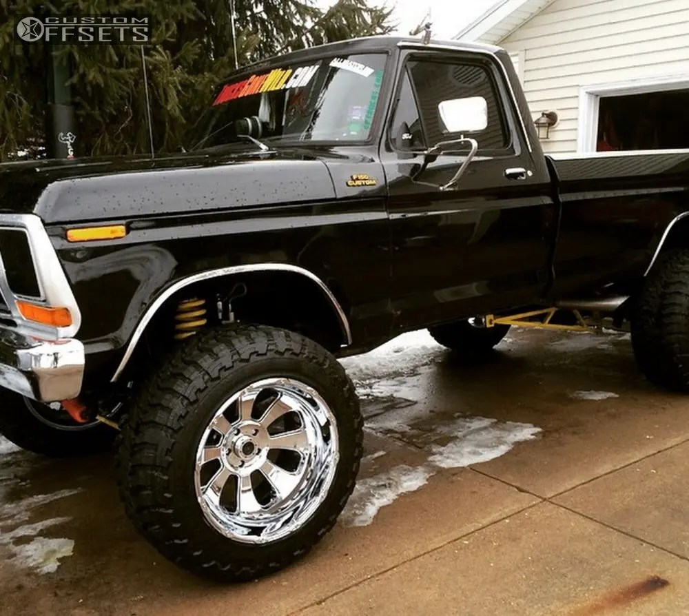 hight resolution of 4 1979 f 150 ford suspension lift 75 kmc xd series armours chrome