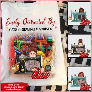 Sewing Cats Custom T Shirt Easily Distracted By Sewing Machines And Cats Personalized Gif
