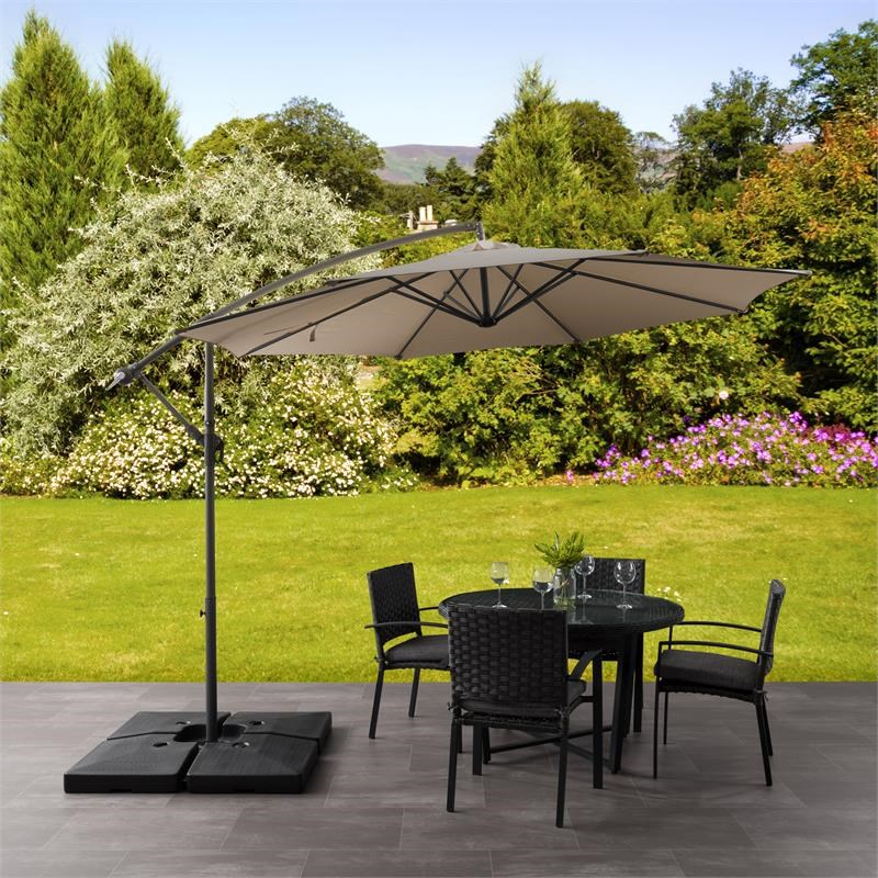 https www homesquare com corliving 9 5ft offset sandy brown fabric patio umbrella and base weight ppu 420 z1 htm