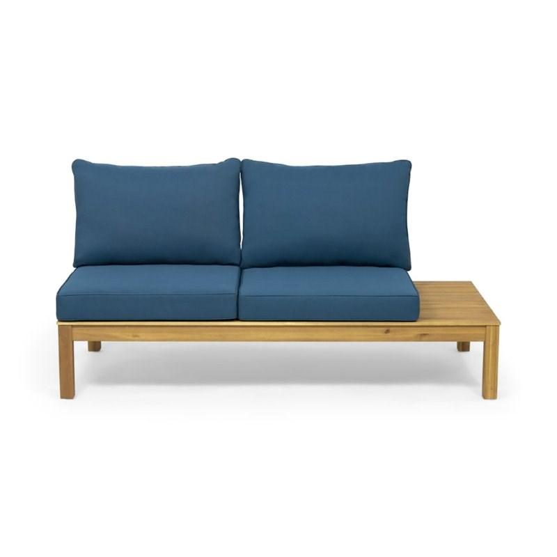 noble house arlington 4 piece outdoor acacia wood sectional sofa set in teal
