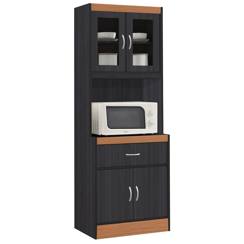 hodedah kitchen cabinet 1 drawer and space for microwave in black beige wood