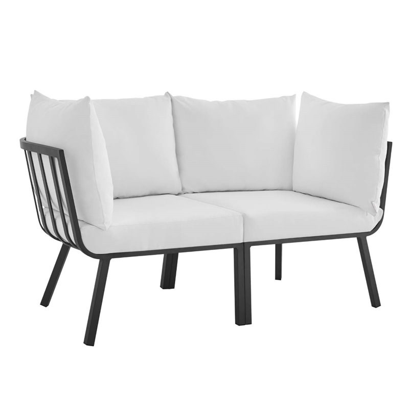 modway riverside 2 piece aluminum patio sectional sofa in gray and white