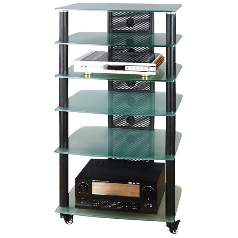 vti ngr series audio rack black frame and clear glass