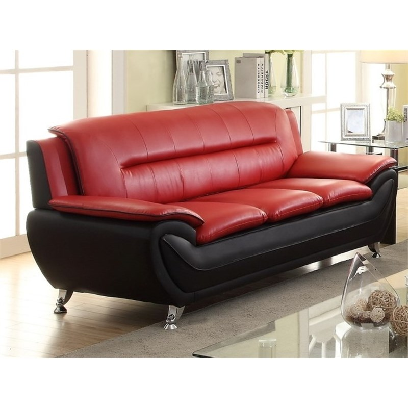 2 piece faux leather living room set with sofa and club chair in red black