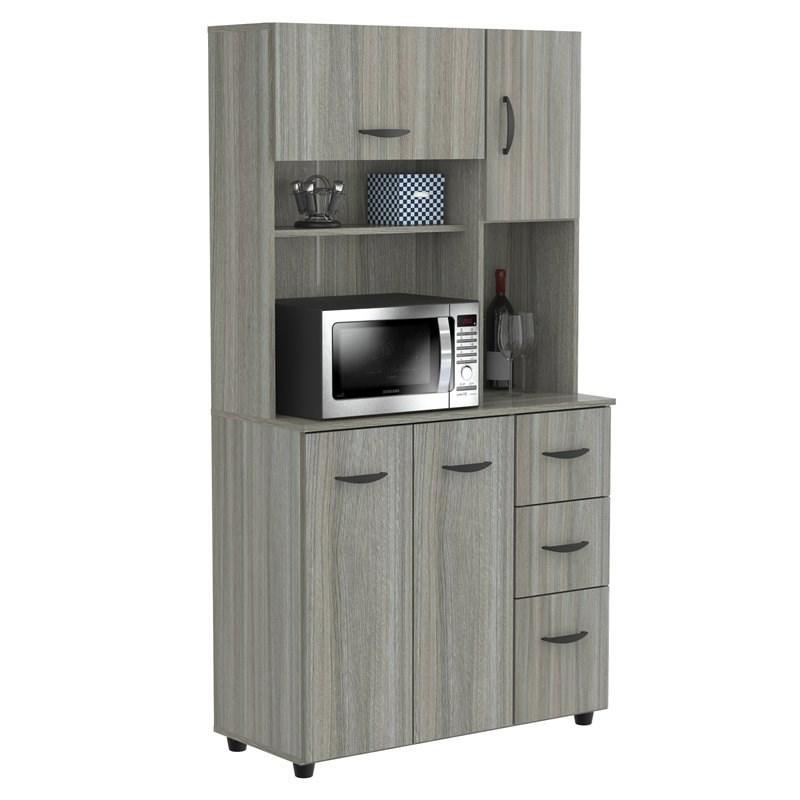 inval kitchen microwave cabinet in smoke oak engineered wood