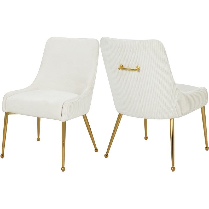 meridian furniture ace cream velvet dining chair with gold legs set of 2