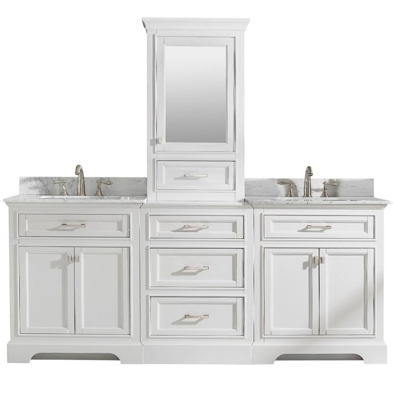 design element milano 84 double sink bathroom vanity modular set in white