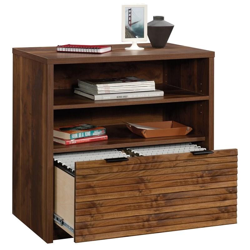 sauder harvey park engineered wood lateral file storage cabinet in grand walnut
