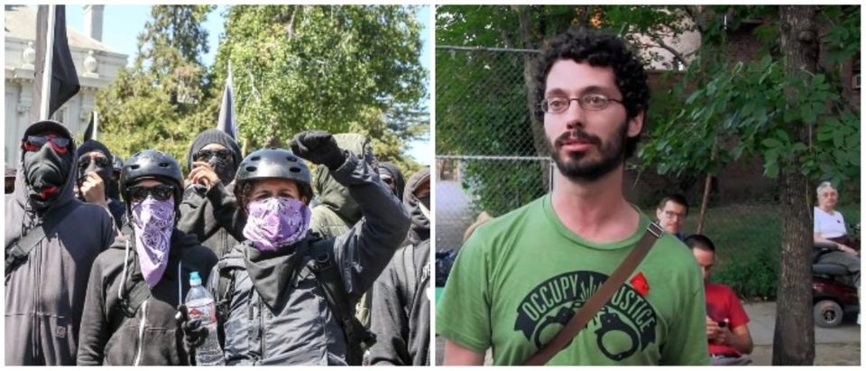 LEFT: Antifa members and counter protesters gather during a rightwing No-To-Marxism rally on August 27, 2017 at Martin Luther King Jr. Park in Berkeley, California. (AMY OSBORNE/AFP/Getty Images) RIGHT: Joseph Alcoff (Screenshot/YouTube)