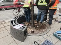 There's a prototype 'urban fire-pit' bench in Toronto ...