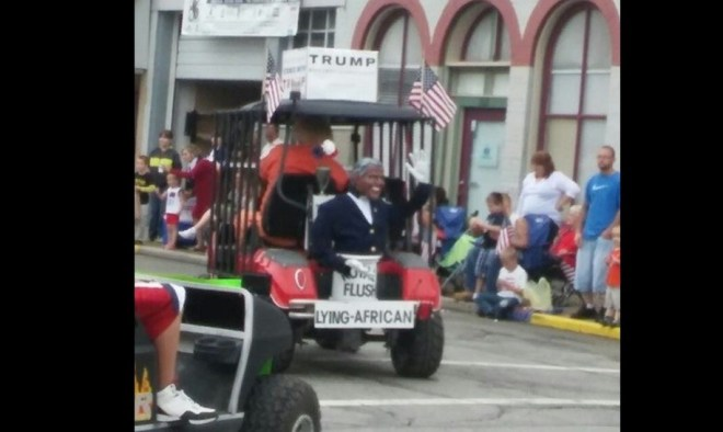 Racist float in a 4th of July parade