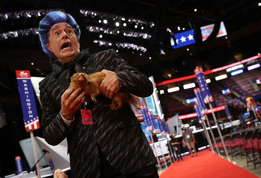 CLEVELAND, OH - JULY 17:  Comedian Stephen Colbert tapes a segment on the floor of the Republican National Convention for CBS's The Late Show with Stephen Colbert at the Quicken Loans Arena  July 17, 2016 in Cleveland, Ohio. The Republican National Convention begins tomorrow.  (Photo by Win McNamee/Getty Images)