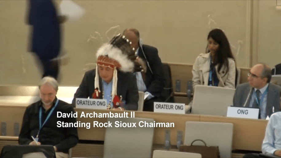 Published on Sep 20, 2016 David Archambault II, Standing Rock Sioux Tribal Chairman, addressed the United Nations Human Rights Council in Geneva, Switzerland, today to garner international opposition to the construction of the Dakota Access Pipeline near the reservation.