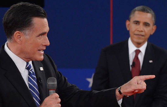 US President Barack Obama  (R) and Republican presidential candidate Mitt Romney (L) participate in  the second presidential debate, the only held in a townhall format, at the David Mack Center at Hofstra University in Hempstead, New York, October 16, 2012, moderated by CNN's Candy Crowley.   AFP PHOTO /Saul LOEB        (Photo credit should read SAUL LOEB/AFP/Getty Images)