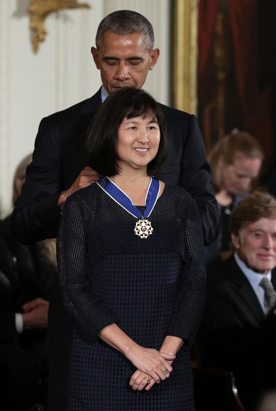 At the White House, President Barack Obama presents the Presidential Medal of Freedom to artist and designer Maya Lin