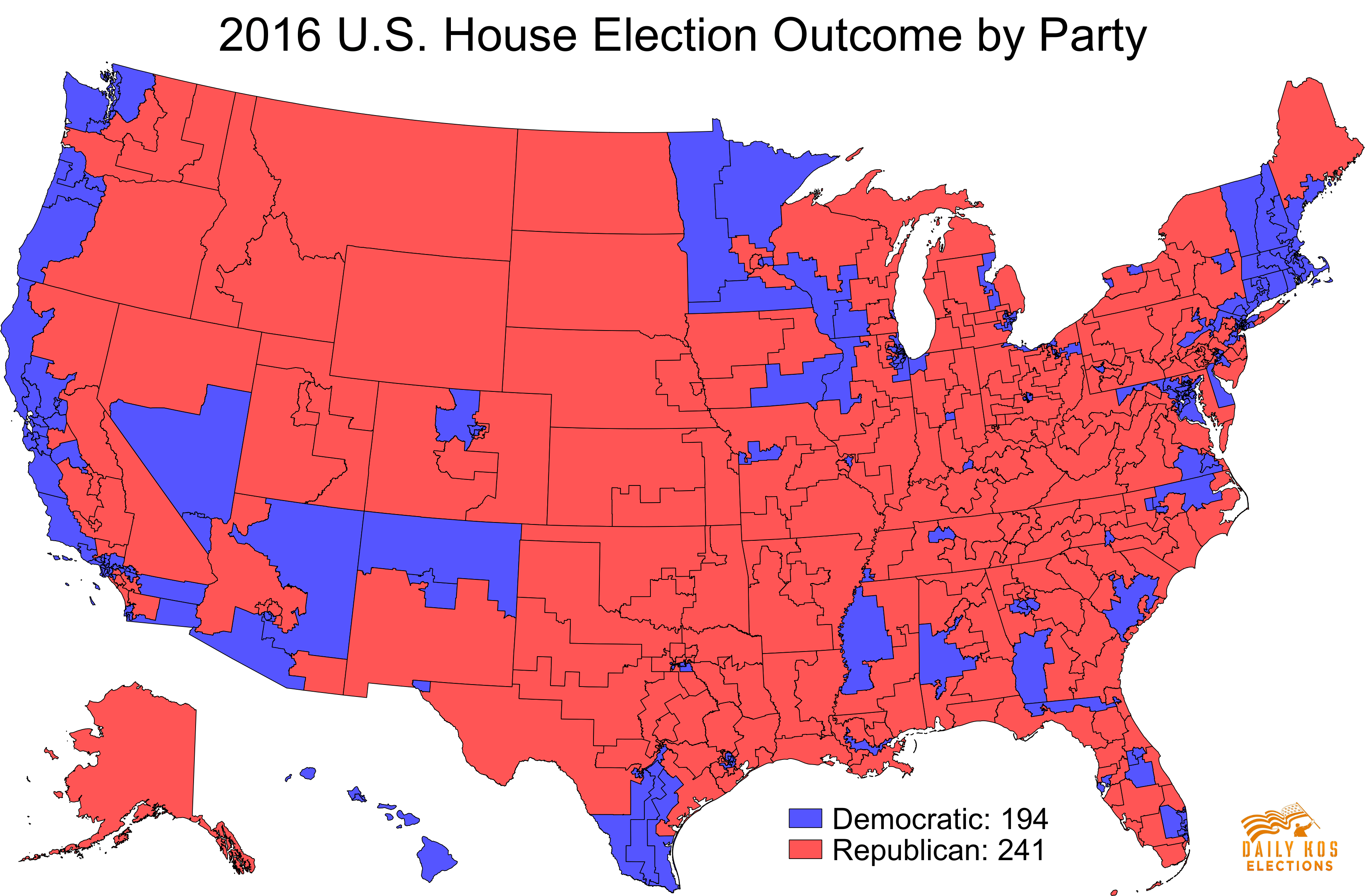 2016 Election by Congressional District Map
