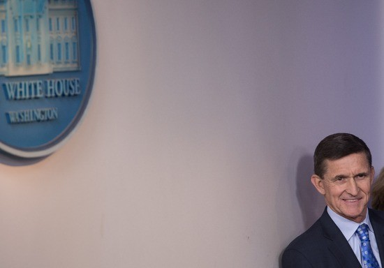 """US National Security Adviser Mike Flynn speaks during the daily press briefing at the White House in Washington, DC, on February 1, 2017..Flynn signaled a more hardline American stance on Iran Wednesday, condemning a recent missile test and declaring he was """"officially putting Iran on notice."""" / AFP / NICHOLAS KAMM        (Photo credit should read NICHOLAS KAMM/AFP/Getty Images)"""
