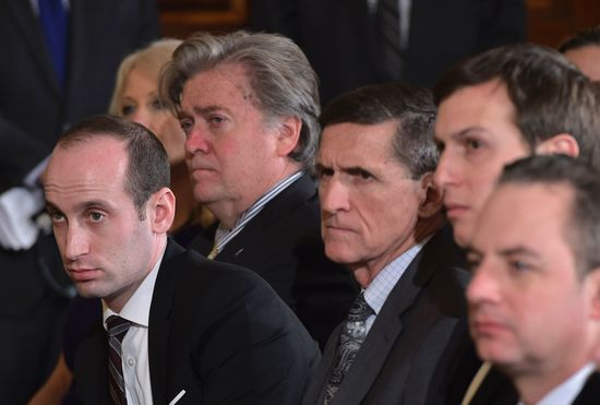 "National Security Advisor Michael Flynn (C) attends  a joint press conference by US President Donald Trump and Canada's Prime Minister Justin Trudeau in the East Room of the White House on February 13, 2017 in Washington, DC. From left are: Senior Advisor to the president, Stephen Miller' White House Chief Strategist Stephen Bannon; National Security Advisor Michael Flynn; Senior Advisor to the president Jared Kushner; and White House Chief of Staff Reince Priebus. .The White House announced February 13, 2017 that Michael Flynn has resigned as President Donald Trump's national security advisor, amid escalating controversy over his contacts with Moscow. In his formal resignation letter, Flynn acknowledged that in the period leading up to Trump's inauguration: ""I inadvertently briefed the vice president-elect and others with incomplete information regarding my phone calls with the Russian ambassador."" / AFP / MANDEL NGAN        (Photo credit should read MANDEL NGAN/AFP/Getty Images)"