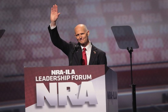 ATLANTA, GA - APRIL 28:  Florida Governor Rick Scott speaks at the NRA-ILA's Leadership Forum at the 146th NRA Annual Meetings & Exhibits on April 28, 2017 in Atlanta, Georgia. The convention is the largest annual gathering for the NRA's more than 5 million members.  (Photo by Scott Olson/Getty Images)