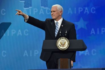 US Vice President Mike Pence addresses the American Israel Public Affairs Committee (AIPAC) policy conference in Washington, DC, on March 5, 2018. / AFP PHOTO / Nicholas Kamm        (Photo credit should read NICHOLAS KAMM/AFP/Getty Images)
