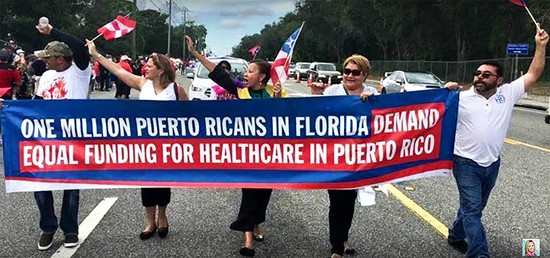 Puerto Ricans march in Florida to get out the vote