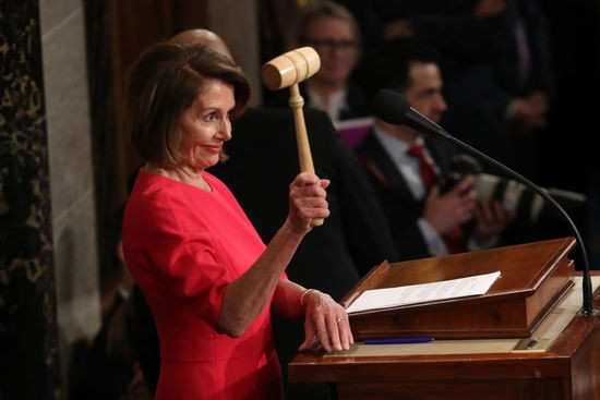 WASHINGTON, DC - JANUARY 03:  Speaker of the House Nancy Pelosi (D-CA) holds the gavel during the first session of the 116th Congress at the U.S. Capitol January 03, 2019 in Washington, DC. Under the cloud of a partial federal government shutdown, Pelosi reclaimed her former title as speaker and her fellow Democrats took control of the House of Representatives for the second time in eight years. (Photo by Win McNamee/Getty Images)