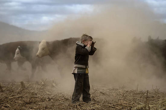 """COONABARABRAN , NEW SOUTH WALES - JUNE 17:  Harry Taylor, 6, plays on the dust bowl his family farm has become during the drought. In the Central Western region of New South Wales, Australia, farmers continue to battle a crippling drought which many locals are calling the worst since 1902. In Warrumbungle Shire, where sharp peaks fall away to once fertile farmland the small town of Coonabarabran is running out of water. The town dam is down to just 23% capacity, forcing residents to live with level six water restrictions. The New South Wales State government recently approved an emergency drought relief package of A$600m, of which at least A$250m is allocated for low interest loans to assist eligible farm businesses to recover. The package has been welcomed, though in the words of a local farmer """"it barely touches the sides"""". Now with the real prospect of a dry El-Nino weather pattern hitting the state in Spring, the longer term outlook for rain here is dire. June 17, 2018 in Coonabarabran, Australia.  (Photo by Brook Mitchell/Getty Images)"""