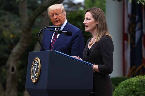 WASHINGTON, DC - SEPTEMBER 26: Seventh U.S. Circuit Court Judge Amy Coney Barrett speaks after U.S. President Donald Trump announced that she will be his nominee to the Supreme Court in the Rose Garden at the White House September 26, 2020 in Washington, DC. With 38 days until the election, Trump tapped Barrett to be his third Supreme Court nominee in just four years and to replace the late Associate Justice Ruth Bader Ginsburg, who will be buried at Arlington National Cemetery on Tuesday. (Photo by Chip Somodevilla/Getty Images)