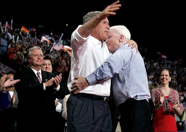McCain and Bush in 2004