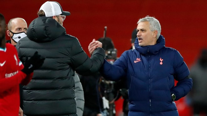 If I behaved like Liverpool manager Klopp on the touchline I'd be sent off, claims Mourinho after Spurs lose at Anfield