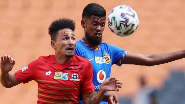 Daylon Claasen of Maritzburg United challenged by Yagan Sasman of Kaizer Chiefs, October 2020