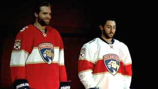 Image result for florida panthers home and road jersey 2016