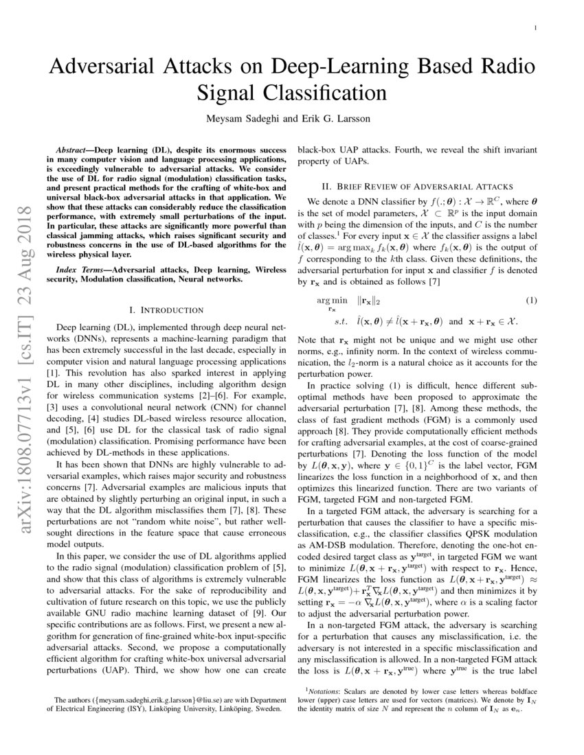 Adversarial Attacks on Deep-Learning Based Radio Signal Classification   DeepAI