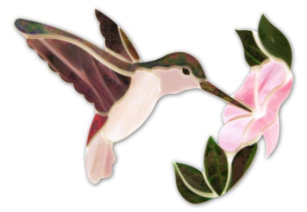Mauve Hummingbird With Flower Premium Pre-cut Kit Glass