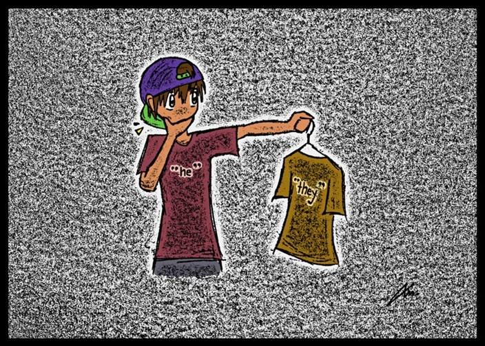 Junge sieht sich Fragen das T-Shirt gegenüber an, welche Geschlechtsidentität hat das wohl?