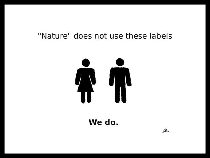 """""""Nature"""" does not use these labels - Symbole von Frau und Mann - We do."""