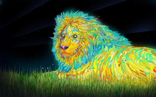 Lion Trippy Psychedelic Art
