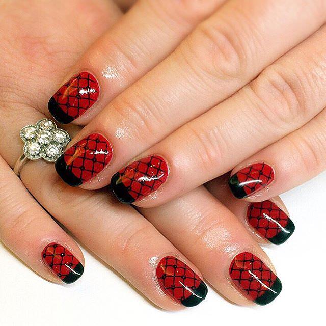Gel Nail Art Epic Red Black Glossy Design Idea Glitter