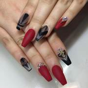 black and red nail art design