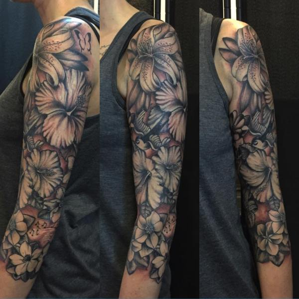 flower sleeve tattoo design