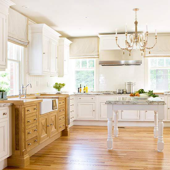 Kitchen Design Traditional White Decor with Wood Island Light Cabinets Backsplash and Stainless Appliances