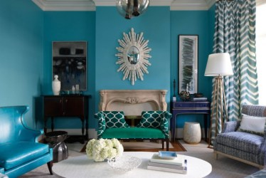 room living colors paint interior teal dark decor accents turquoise navy brighten decorating warner wall miller massucco colour rooms every