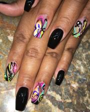 black stiletto nail art design