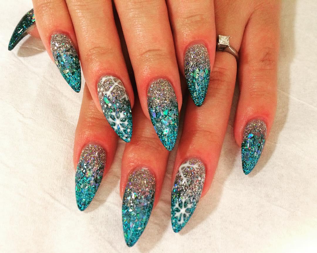 Blue Glitter Acrylic Nail Design