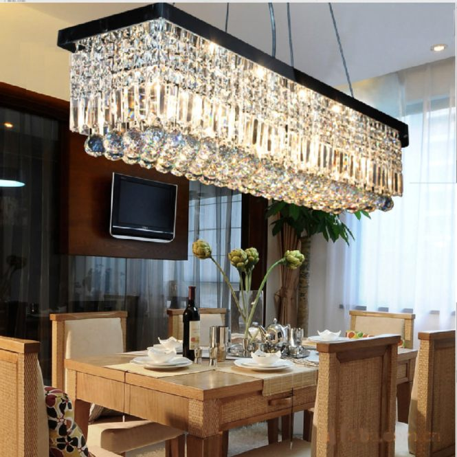 Contemporary Dining Room With Rectangular Chandelier