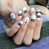 Black And White Cross Nail Art | www.imgkid.com - The ...